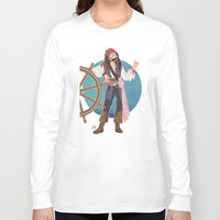 jack sparrow Long Sleeve T-shirts featuring Captain Jack Sparrow by Lili's Damn Fine Shop