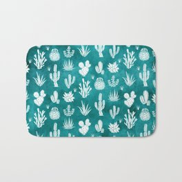 Cactus Pattern on Teal Bath Mat