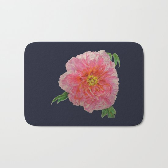 Pink Peony Flower Drawing on Blue Background Bath Mat