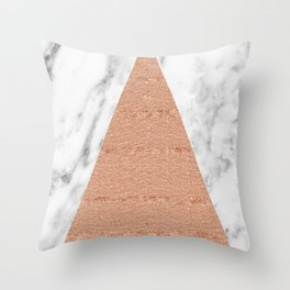 Rose gold on marble glitter triangle Throw Pillow