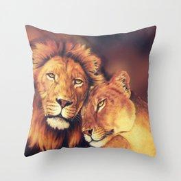 Lions Soulmates Throw Pillow