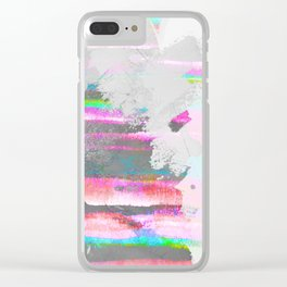 Abstract pastel painting in pink and green, watercolor design Clear iPhone Case
