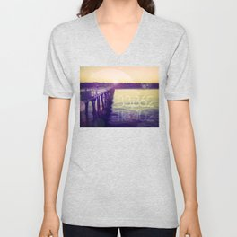 Hermosa Beach, California Unisex V-Neck