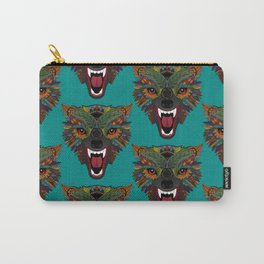wolf fight flight teal Carry-All Pouch