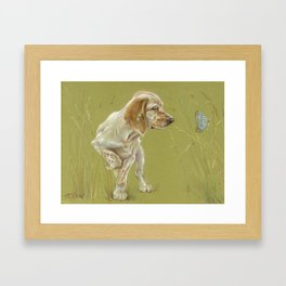 The First Spring Butterfly English Setter Puppy Pastel Drawing on green background Pet illustration Framed Art Print