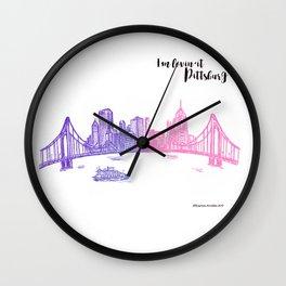 Ink Sketch Pittsburgh Skyline Wall Clock
