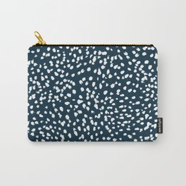 Navy Dots abstract minimal print design pattern brushstrokes painterly painting love boho urban chic Carry-All Pouch