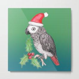 Christmas African grey parrot Metal Print