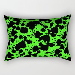 Bright Green and Black Leopard Style Paint Splash Funny Pattern Rectangular Pillow