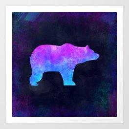 BEAR IN SPACE // Animal Graphic Art // Watercolor Canvas Painting // Modern Minimal Cute Art Print