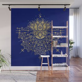 Sacred Lotus Mandala – Navy & Gold Palette Wall Mural