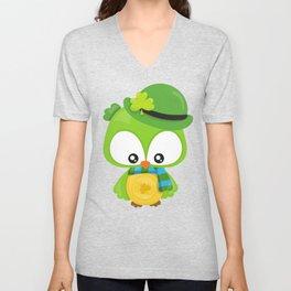 Saint Patrick's Day Owl, Green Owl, Clovers Unisex V-Neck