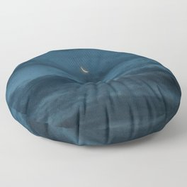 Morning Moonrise: Crescent in the Clouds Floor Pillow