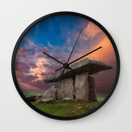 Poulnabrone Dolmen Sunset Wall Clock