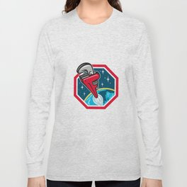 Pipe Wrench Rocket Booster Blasting Space Hexagon Retro Long Sleeve T-shirt