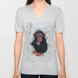 Chimpanzee Art Unisex V-Neck