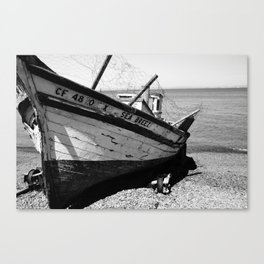 Shrimp Boat I Black & White Canvas Print