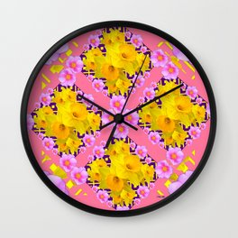 Coral Color Yellow Daffodils & Roses Pattern Art Wall Clock