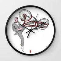 pee wee Wall Clocks featuring Pee Wee Herman #3 by Christian G. Marra