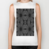 gray pattern Biker Tanks featuring Black Slate Gray Crystal Pattern by 2sweet4words Designs