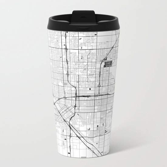 Fresno Map Gray Metal Travel Mug