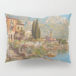 Lakeside View of Riva and Flower Gardens on Lake Garda, Italy landscape painting Pillow Sham