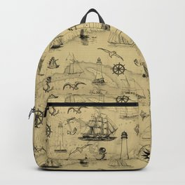 Old Map Background with Vintage Nautical Pattern Backpack