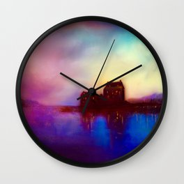 Eilean Donan Castle Sunset Wall Clock