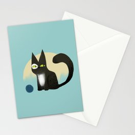 Black Cat playing with ball Stationery Cards