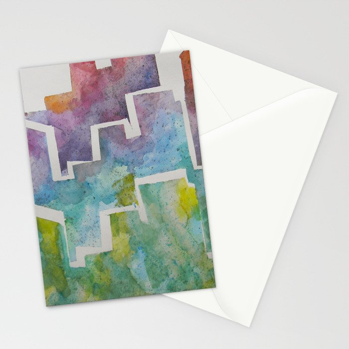 Watercolor Skyline  Stationery Cards