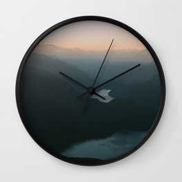 Mountains at Sunset Wall Clock