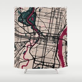 Philadelphia Street Map // Red Theme Shower Curtain