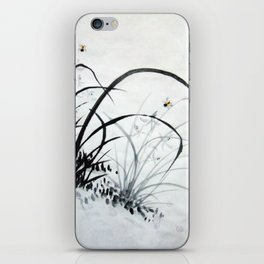 Black & White Chinese Orchids iPhone Skin