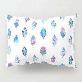 Blue Purple Watercolor Leaves Pillow Sham