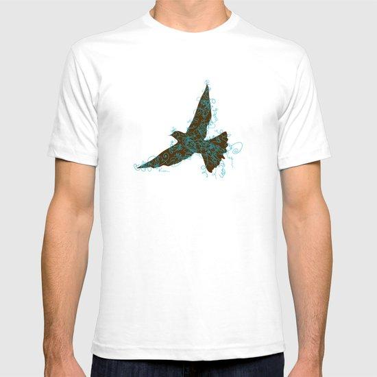 Bird Fly No. 2  (Brown/Aqua) T-shirt