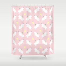 The girl, the bull and the owl, (pink) Shower Curtain