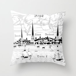 Riga 1544 (black on white) Throw Pillow