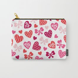 Valentine Hearts and Red Bows Carry-All Pouch