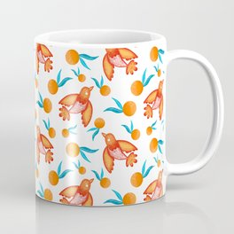 Little swallows birds with spread wings, sunny bright oranges with green leaves retro pattern Coffee Mug