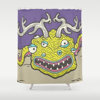 kevin russ Shower Curtains featuring Cube Squid by Kevin Berquist by UCO Design