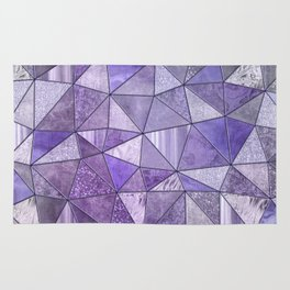 Purple Lilac Glamour Shiny Shimmering Patchwork Rug