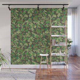 Green ivy with ornament on dark brown background Wall Mural