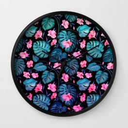 Modern neon pink blue green tropical floral illustration Wall Clock