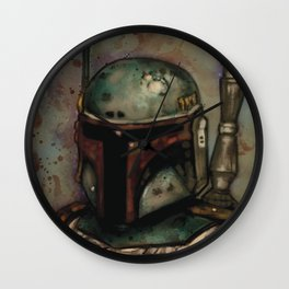 Bobba Fett Bounty Hunter ESB by SachsIllustration Wall Clock