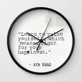 Ayn quote Wall Clock