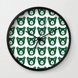 Dark green bear illustration Wall Clock