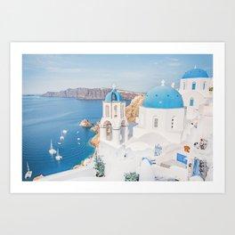 Cliffside in Santorini Art Print