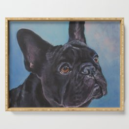 french bulldog dog portrait art from an original painting by L.A.Shepard Serving Tray