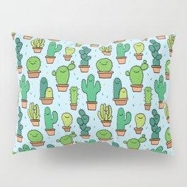 Cute Cactus Cacti Pattern Light Blue Background Pillow Sham