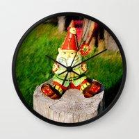 gnome Wall Clocks featuring Gnome by Raffaella315